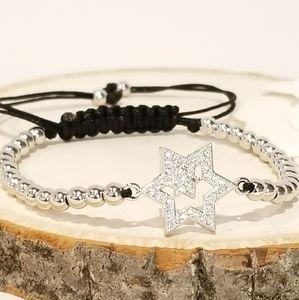 NEW Pave CZ Star Draw Strings Bracelet